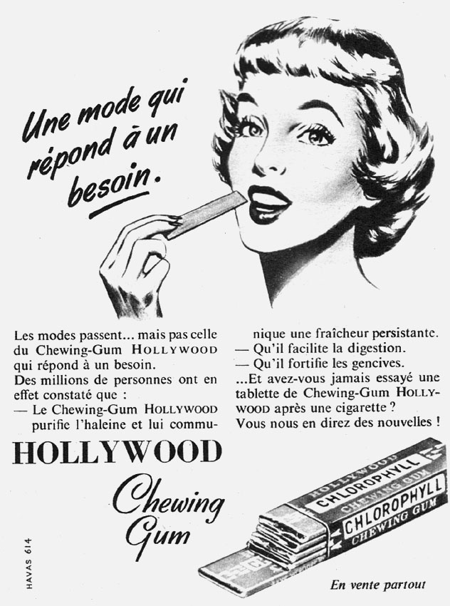 Publicité Hollywood 1955