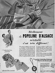 Marque Popeline d'Alsace 1954