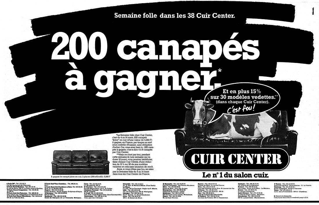 Publicité Cuir Center 1982