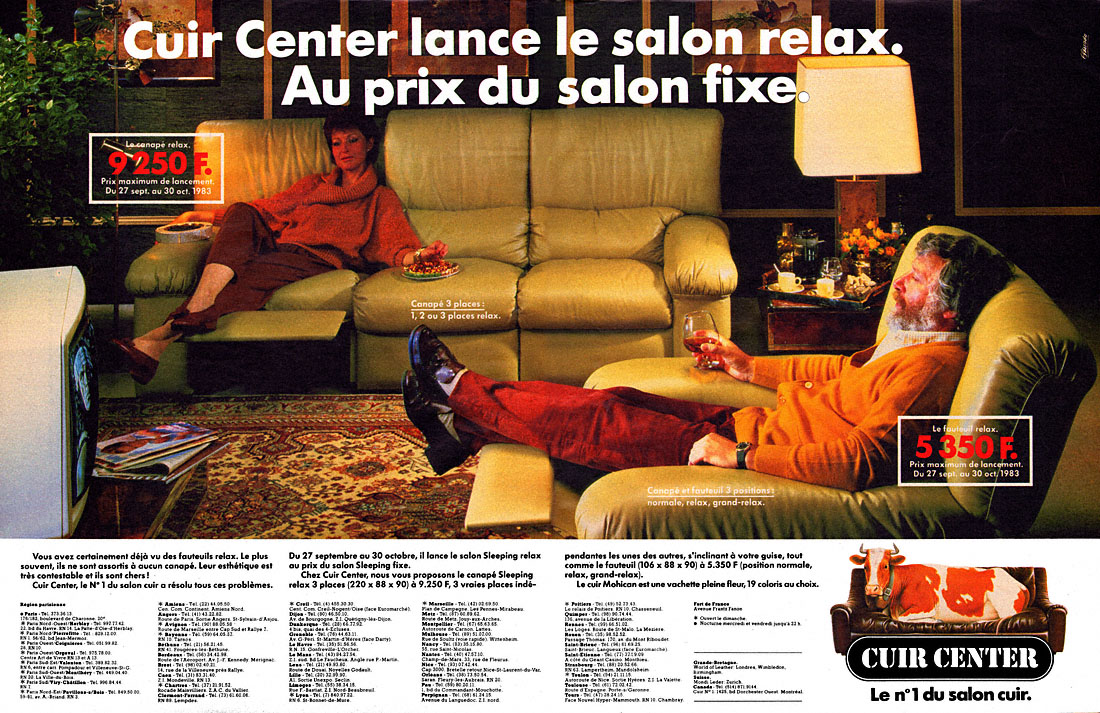 Publicité Cuir Center 1983